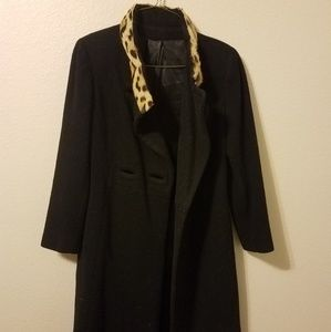Real Ocelot Fur Wool long coat